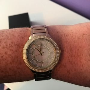 Authentic Michael Kors gold pearl face pave watch